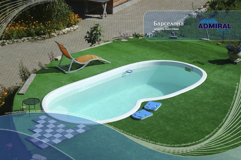 Бассейн Admiral Pools овальный Барселона размер 5,10х2,55 м