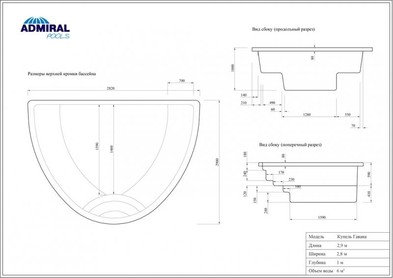 Купель Admiral Pools Гавана размер 2,90х2,80 м