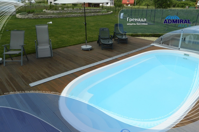 Бассейн Admiral Pools овальный Гренада размер 6,40х2,80 м