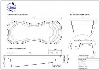 Бассейн Delfy прямоугольный Джог 8 размер 8,50х3,60 м
