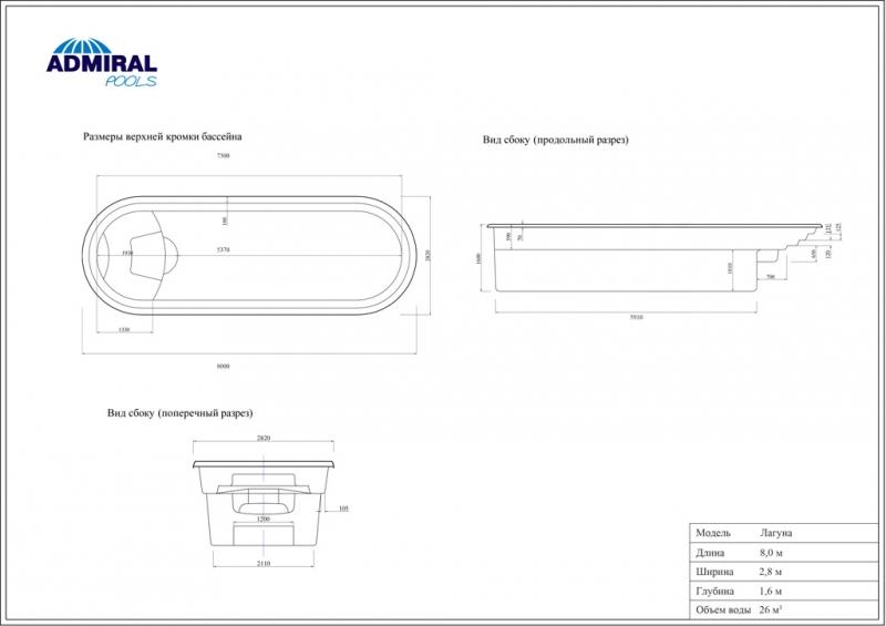 Бассейн Admiral Pools овальный Лагуна размер 8,00х2,80 м