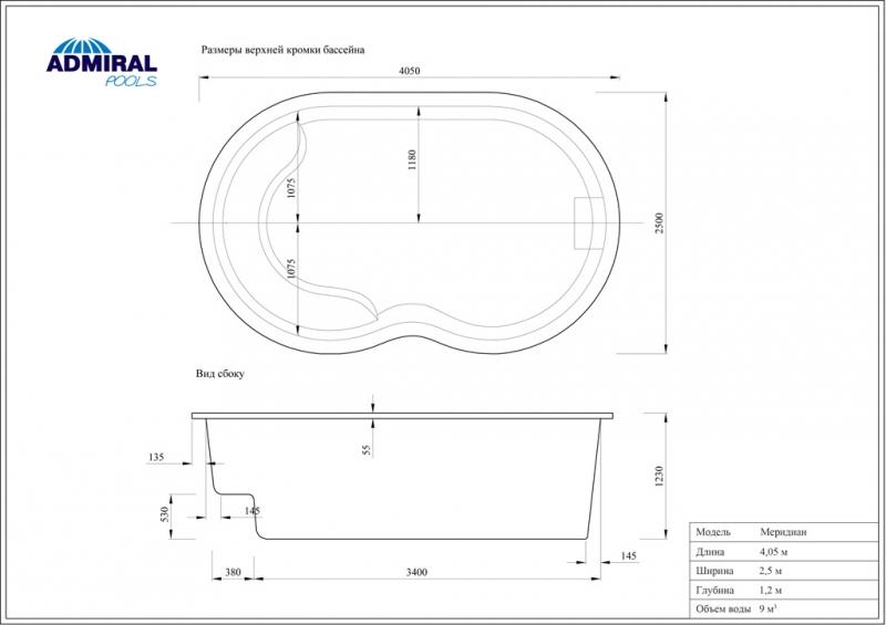 Бассейн Admiral Pools овальный Меридиан размер 4,05х2,50 м