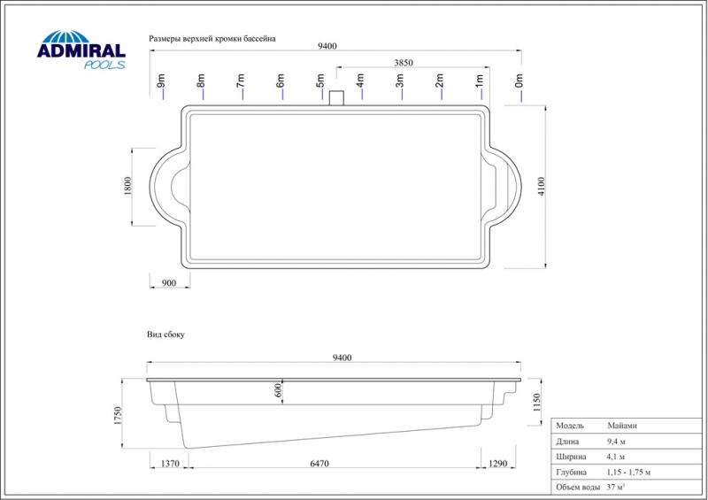 Бассейн Admiral Pools прямоугольный Майами размер 9,40х4,10 м