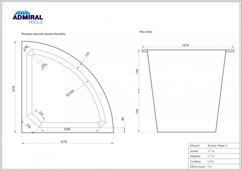 Купель Admiral Pools Морж 2 размер 1,70х1,70 м