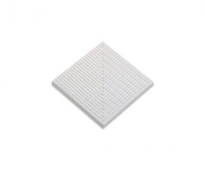 Плитка фарфоровая Serapool противоскользящая Potikare белая 12,5х12,5 см, без глазури, угол, с буртиком