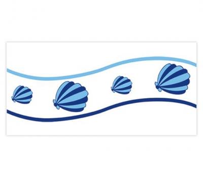 Плитка фарфоровая Serapool бордюр с рисунком 12,5х25 см Ракушка
