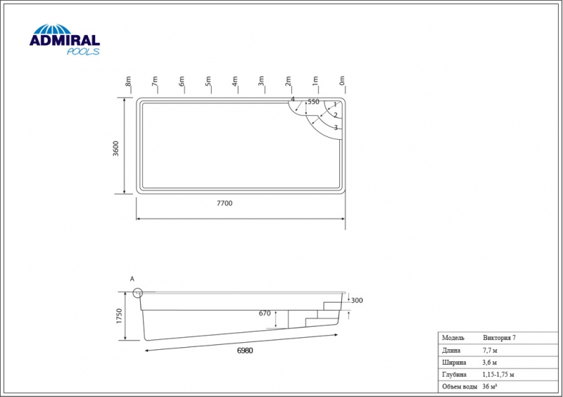 Бассейн Admiral Pools прямоугольный Виктория 7 размер 7,70х3,60 м